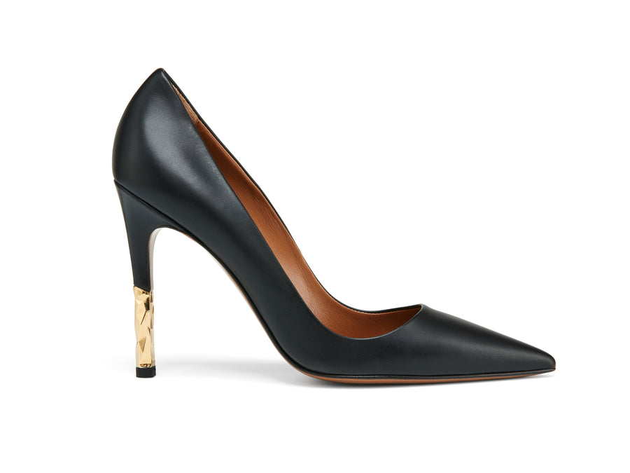 Rene Black Leather Pump