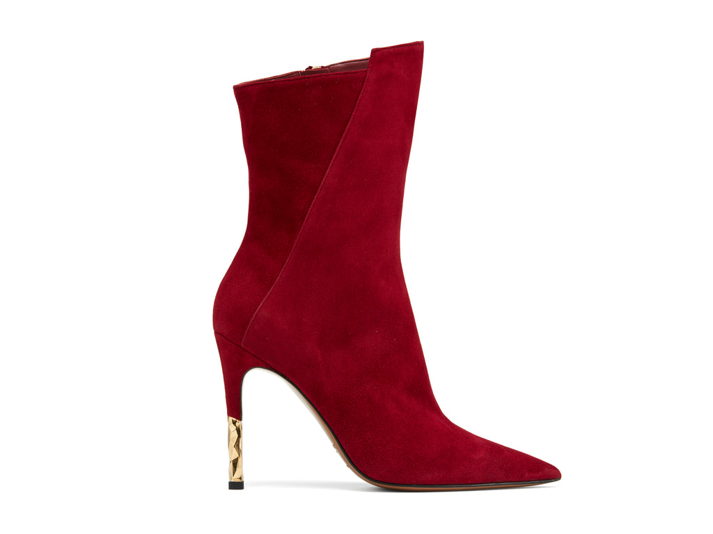 Blaire Burgundy Suede Leather Boots