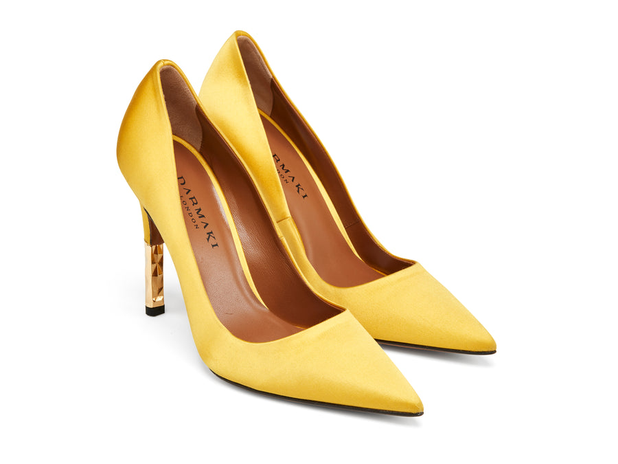 Rene Canary Yellow Satin Pumps