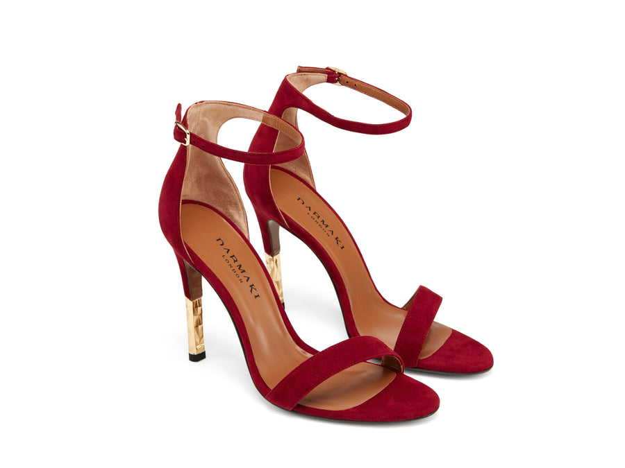 Lucian Burgundy Sued Stiletto Sandle