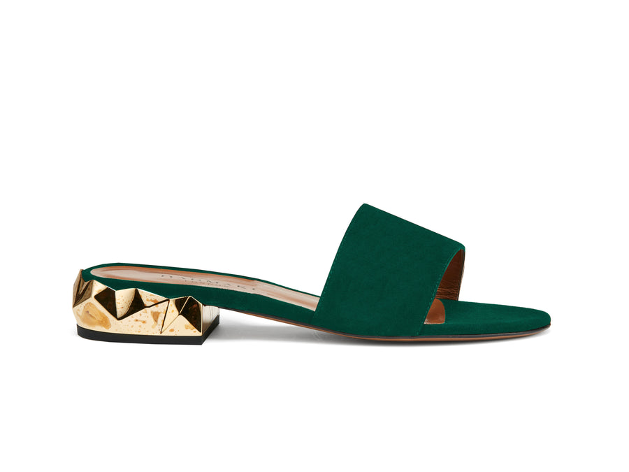 Dana Green Suede Sliders
