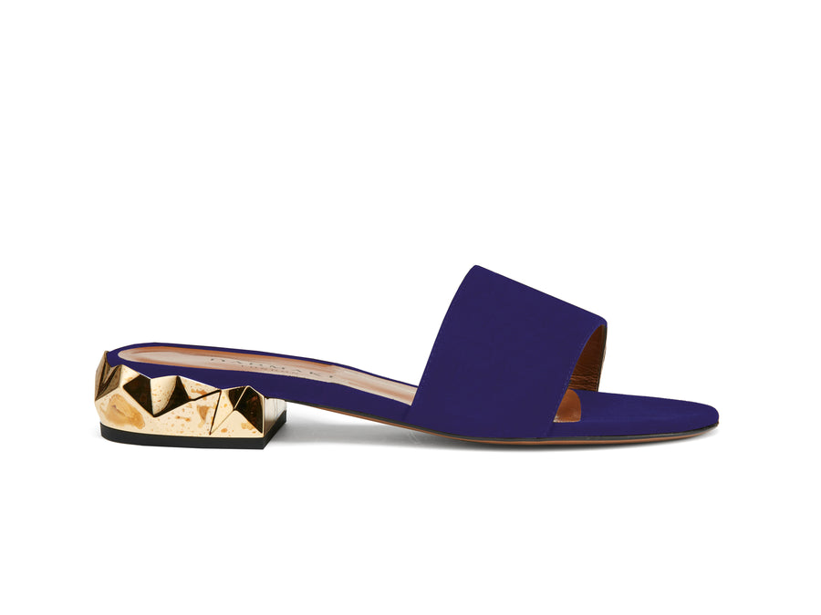 Dana Midnight Blue Suede Sliders
