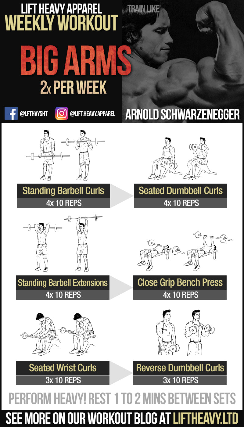 Arnold Schwarzenegger Big Arms workout from Lift Heavy Apparel