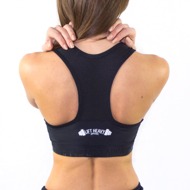 Signature 2.0 Women's Black & Mesh Sports Bra Lift Heavy Apparel