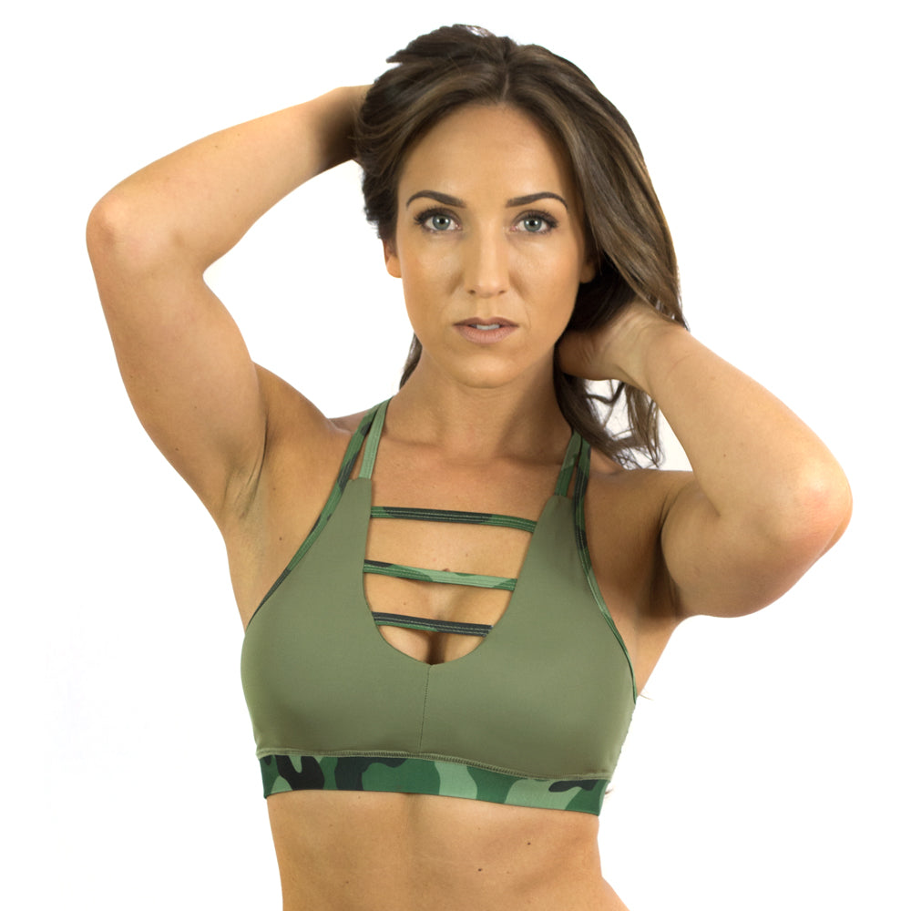 Conflict Women's Green & Camo Sports Bra Lift Heavy Apparel