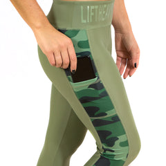 Conflict Women's Green & Camo Leggings Lift Heavy Apparel