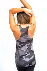 Grey Camo Women's Racerback Tank Top