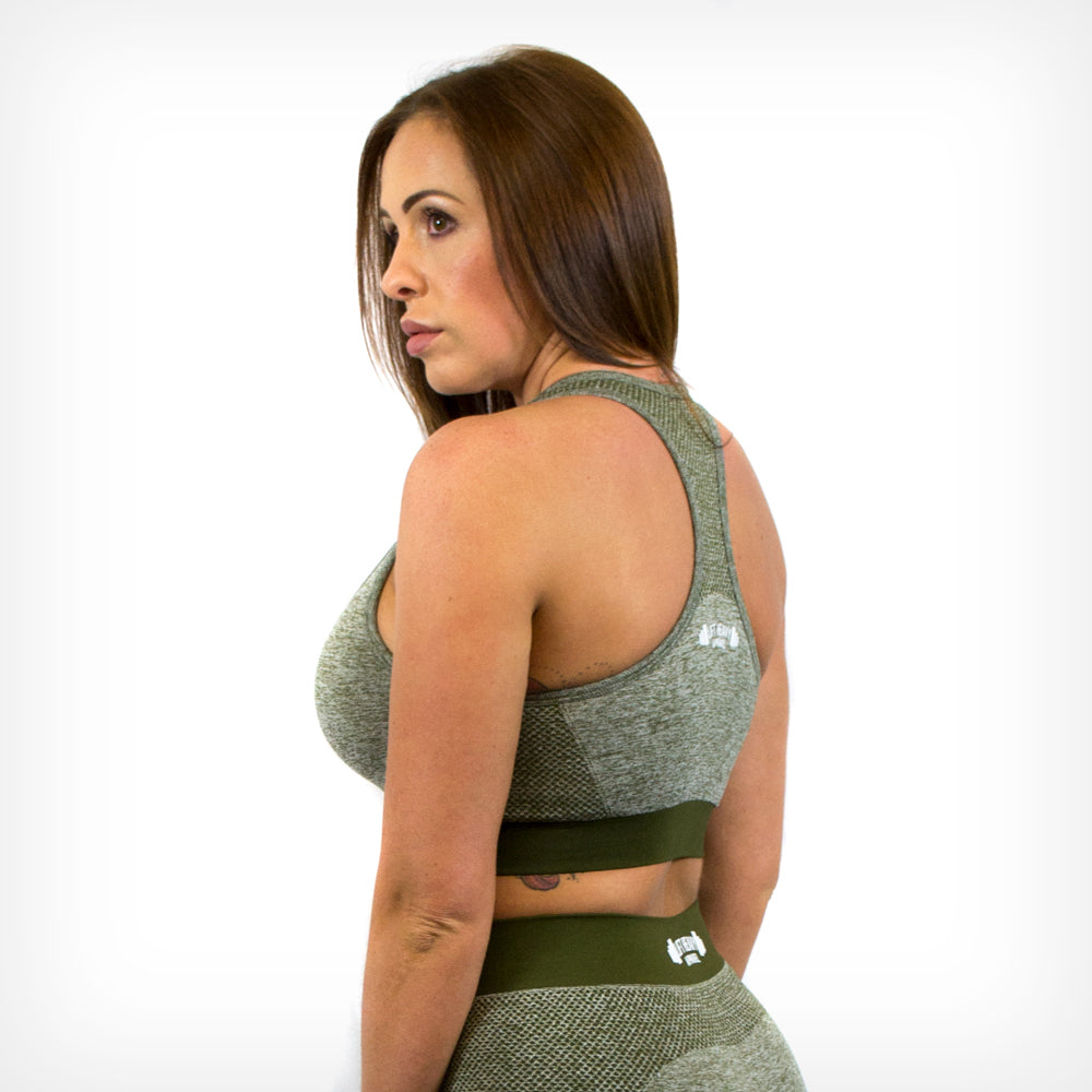 Seamless Sports Bra Olive Green Lift Heavy Apparel