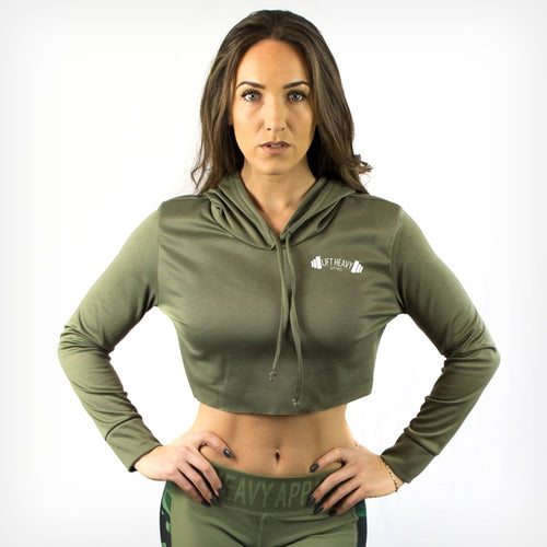Women's Raw Cropped Hoodie Lift Heavy Apparel