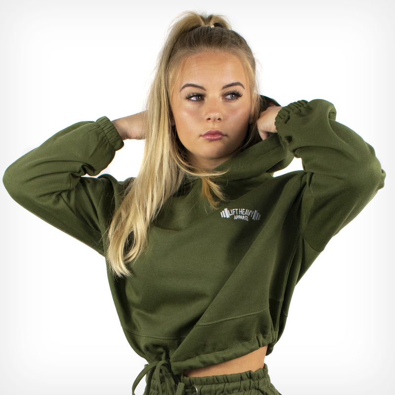 Women's Originals Oversized Cropped Hoodie Olive Green
