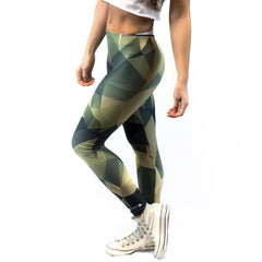 Green / White Polygonal Camo Women's Crop Top & Leggings Set