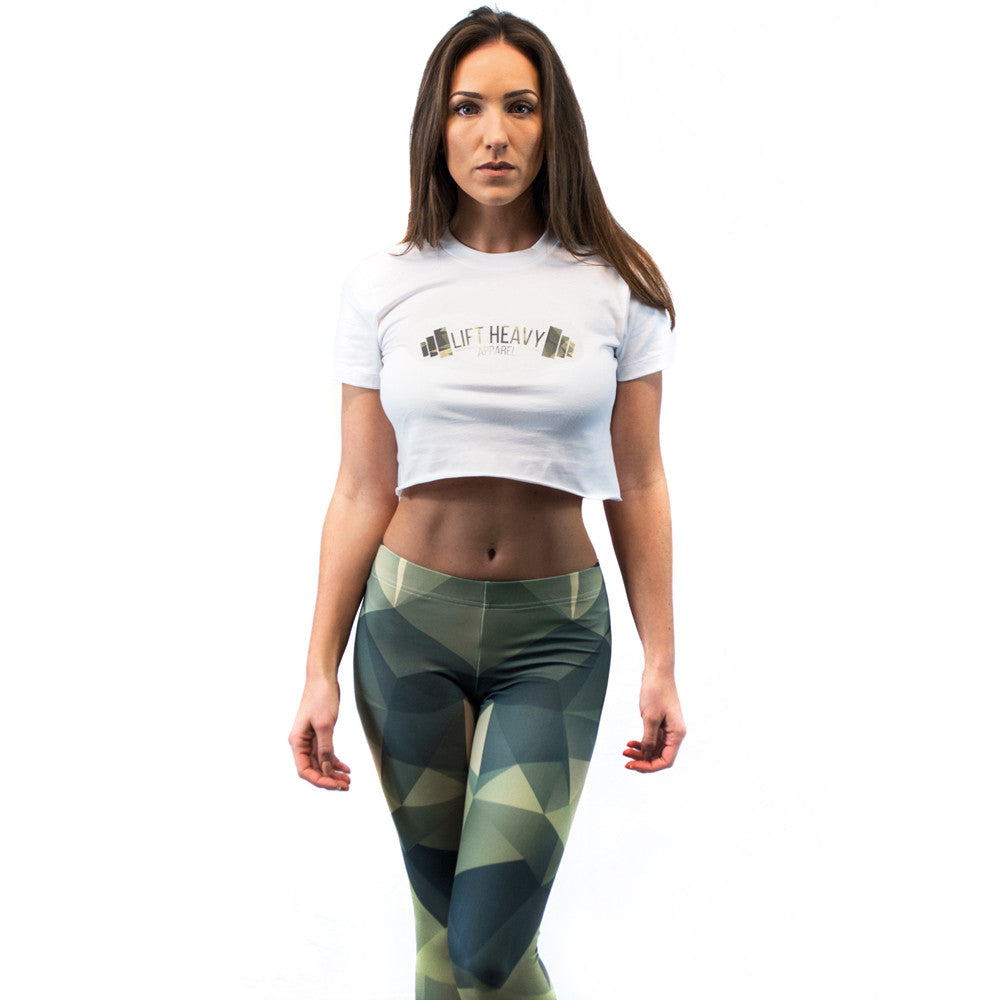 Polygonal Camo Women's Crop Top & Leggings Set