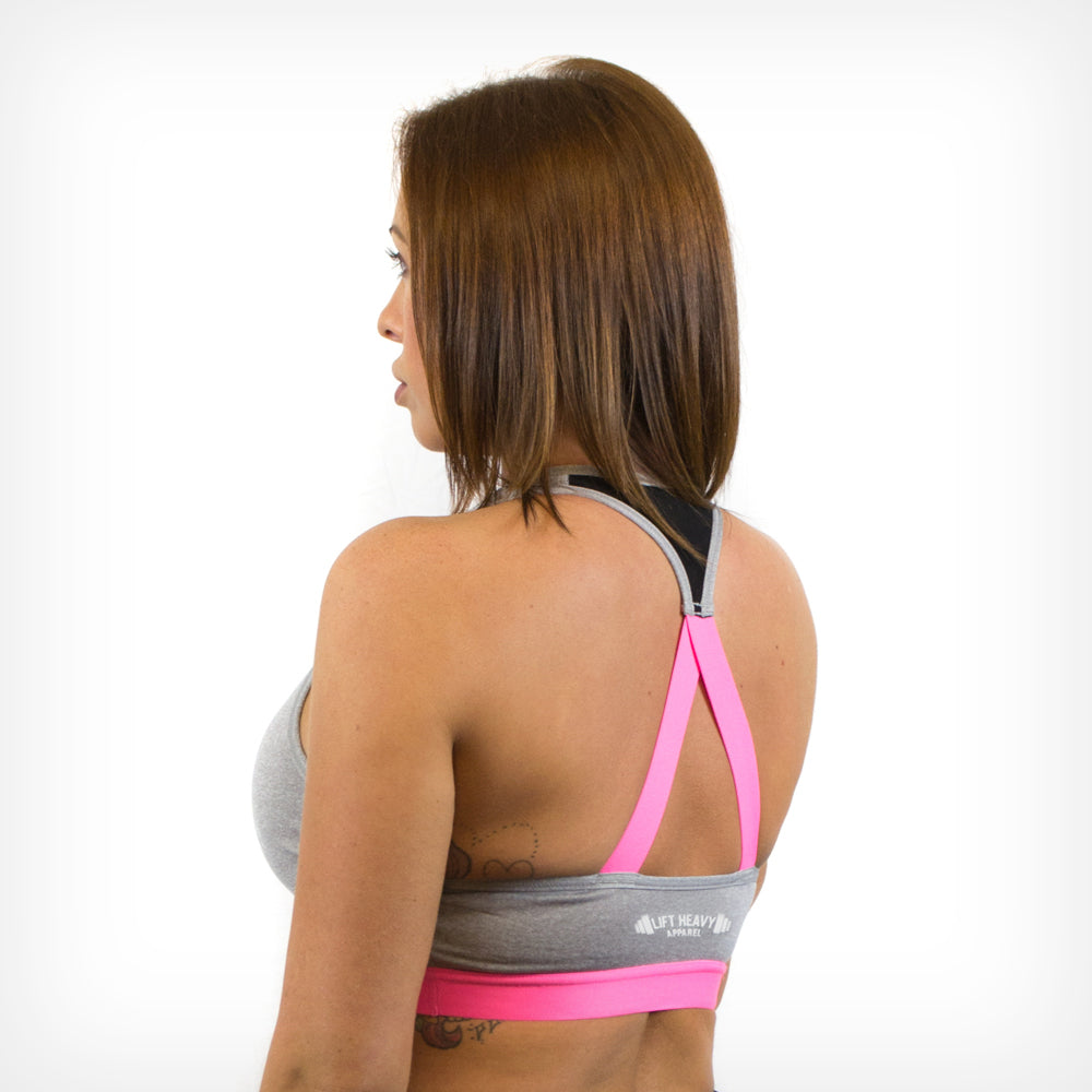Crossback Performance Sports Bra Grey Lift Heavy Apparel