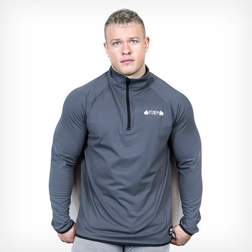 Charcoal Long Sleeve 1/2 Zip Training Top Lift Heavy Apparel