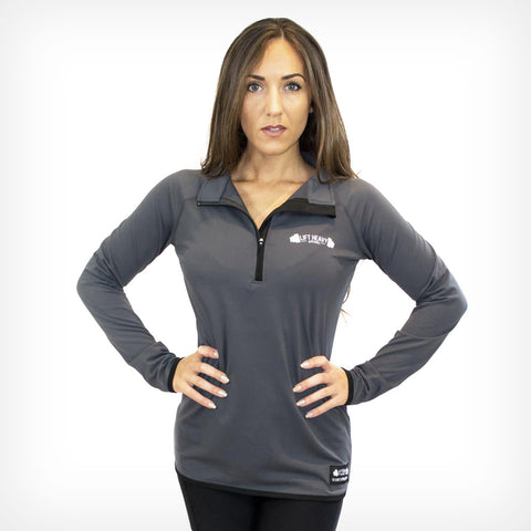 Women's Charcoal Long Sleeve 1/2 Zip Training Top Lift Heavy Apparel