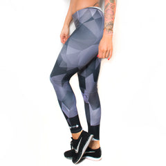 Black/Grey Polygonal Camo Women's Crop Top & Leggings Set