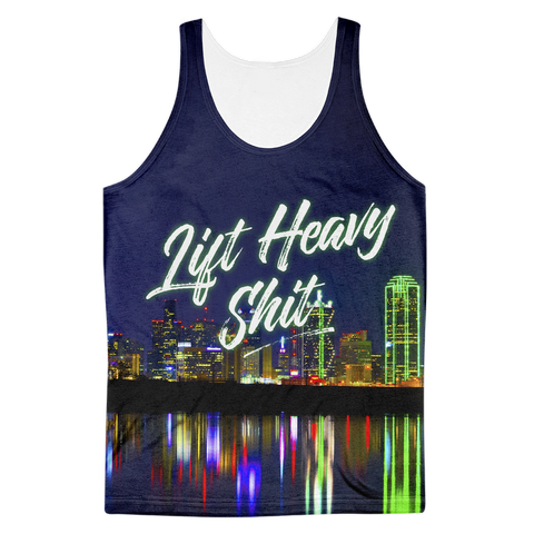Dallas Skyline Men's Tank Top - Lift Heavy Apparel - 1