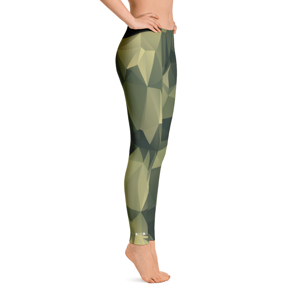 Green Polygonal Camo Women's Leggings Lift Heavy Apparel