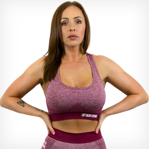 Seamless Sports Bra Dark Cherry Red Lift Heavy Apparel