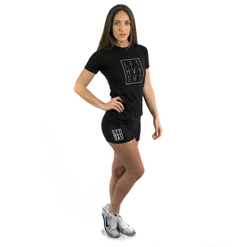 Signature 2.0 Women's Black & Mesh Shorts with pocket gym Lift Heavy Apparel