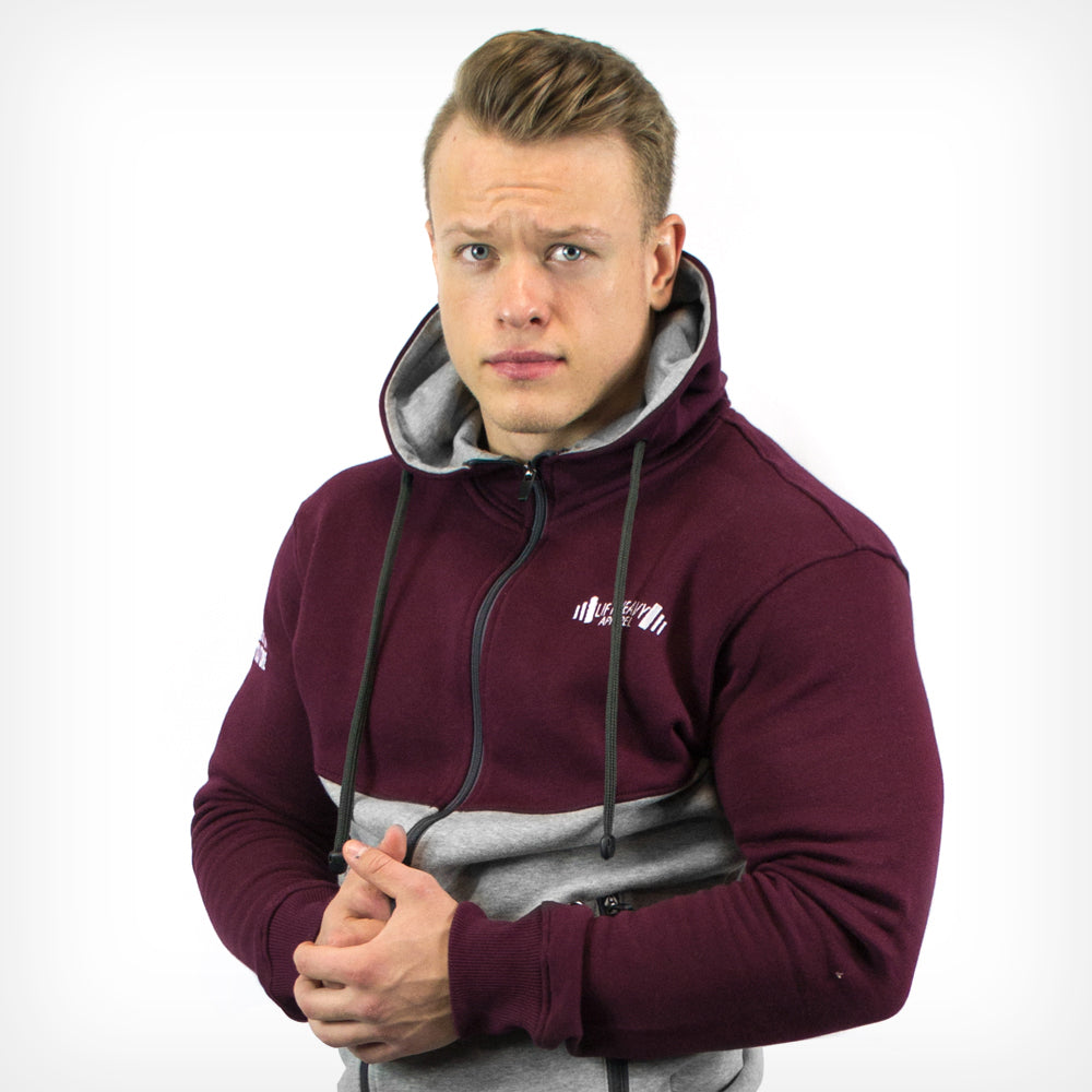 Valour Fleece Cotton Tracksuit - Burgundy/Grey Lift Heavy Apparel