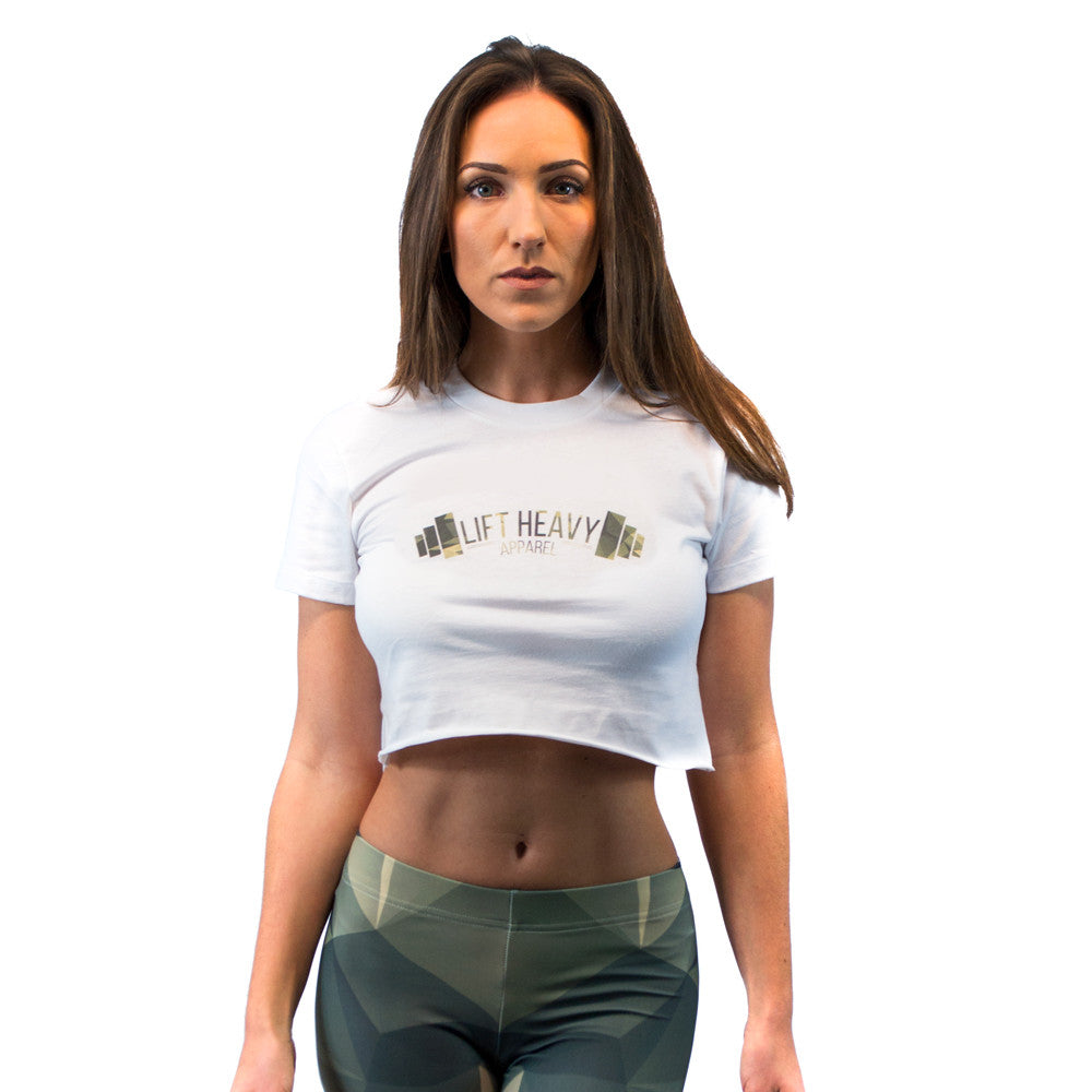 White/Green Polygonal Camo Women's Crop Top