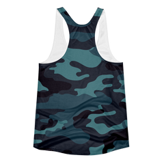 Blue Camo Women's Racerback Tank Top - Lift Heavy Apparel - 2