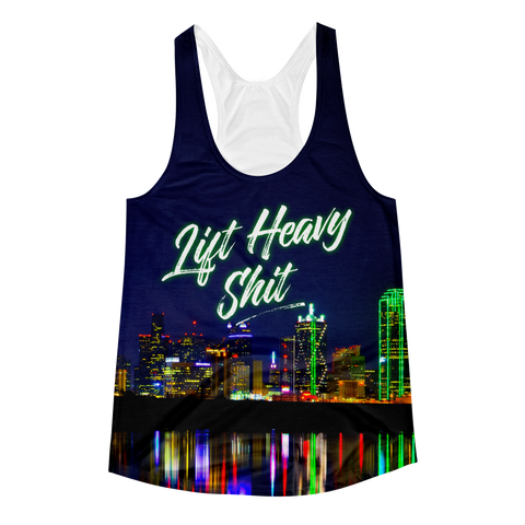 Dallas Skyline Women's Racerback Tank Top - Lift Heavy Apparel - 1