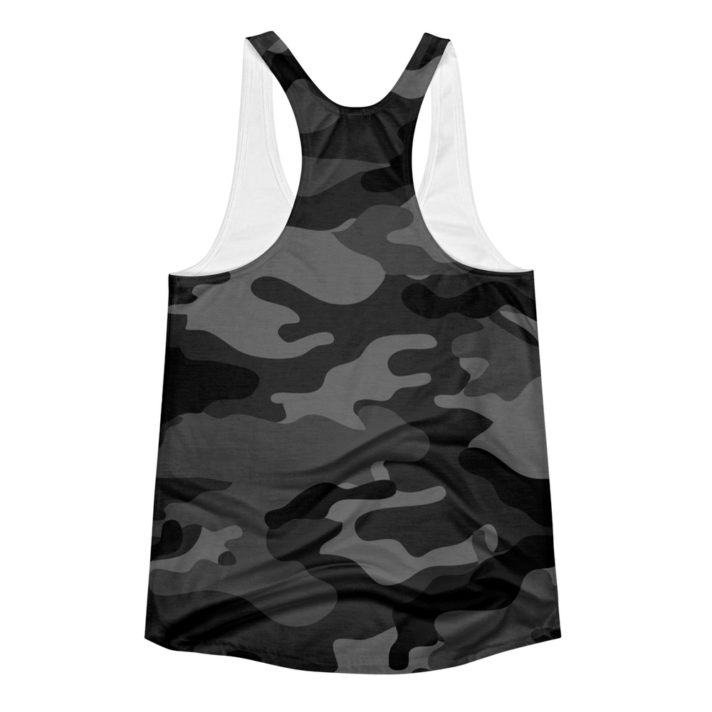 Grey Camo Women's Racerback Tank Top - Lift Heavy Apparel - 2