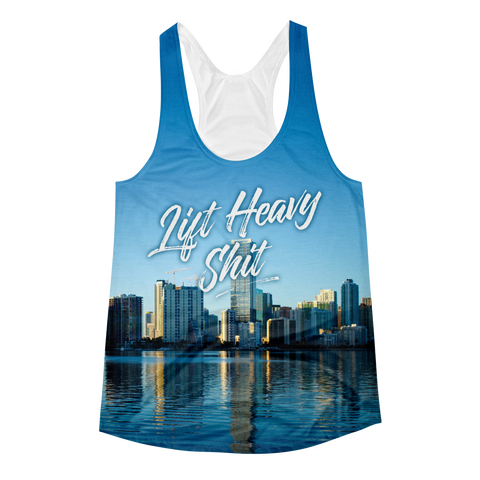 Miami Skyline Women's Racerback Tank Top - Lift Heavy Apparel - 1