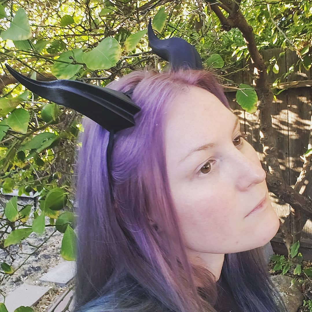 Medium Double Ridge 3D Printed Costume Horns (Multiple Colors Available)