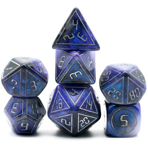 Cybernated Blue & Black RPG Dice Set - XLarge