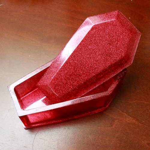 Red Glitter Coffin Box