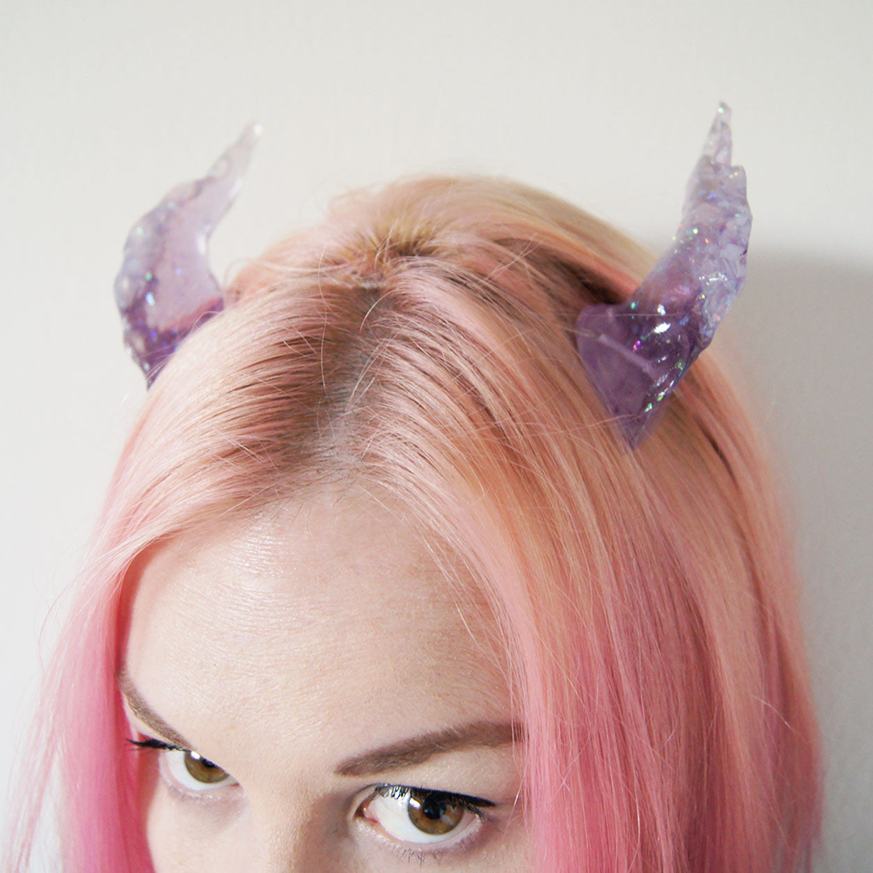 Lavender Opal Dragon Costume Horns - SteamWolf Symphony
