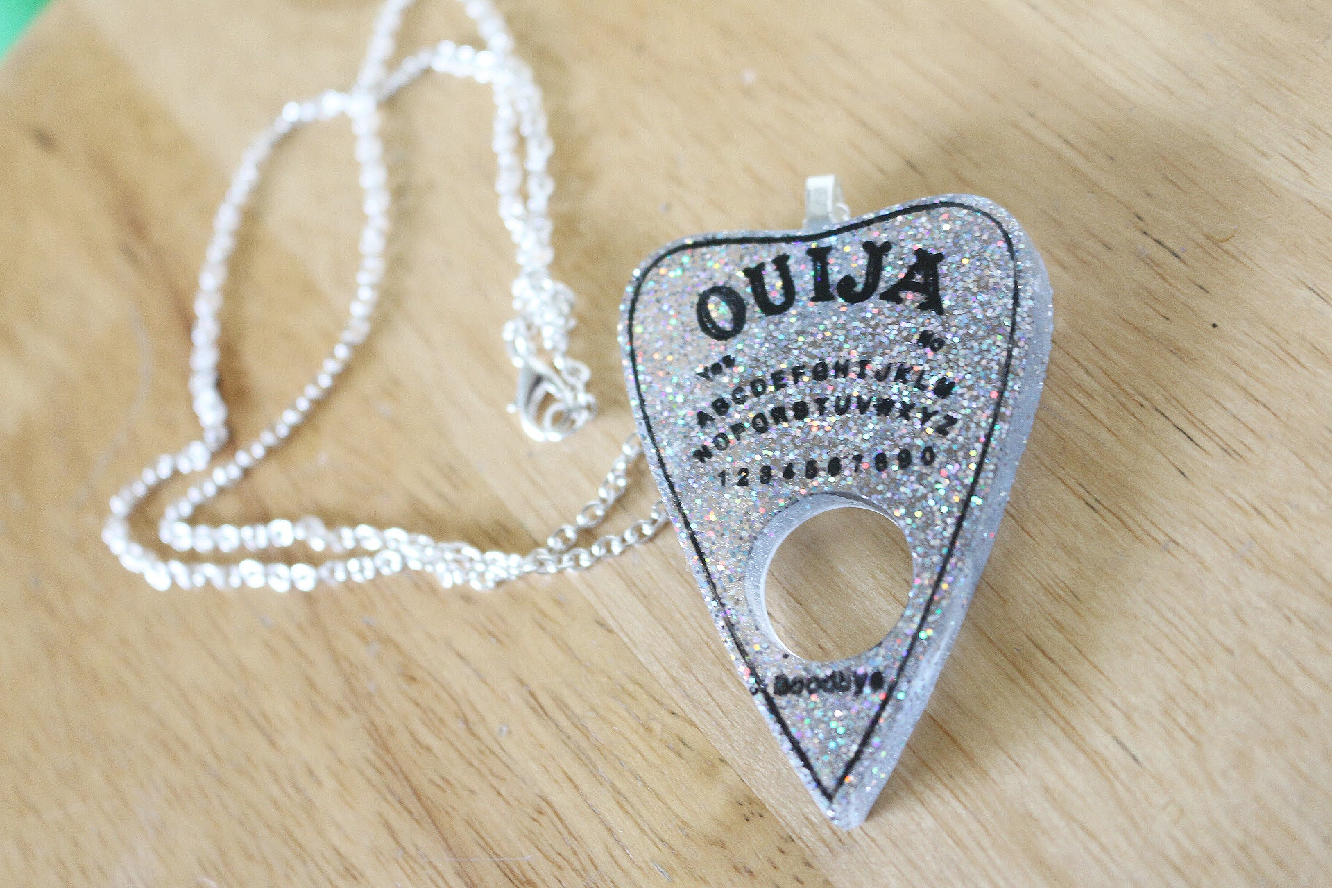 Holographic Glitter Ouija Planchette Necklace
