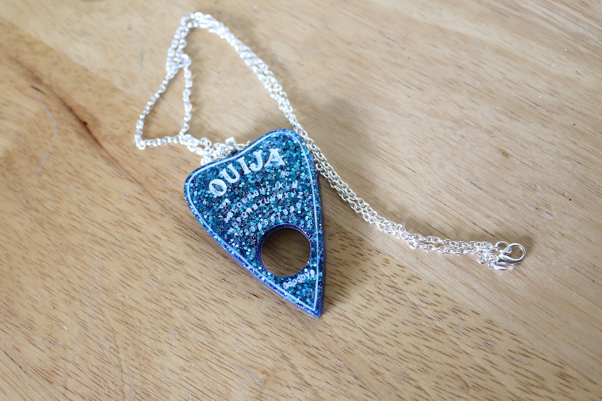 Galaxy Glitter Ouija Planchette Necklace