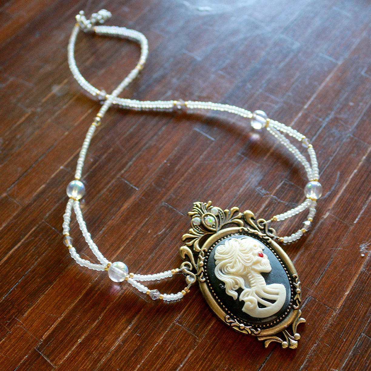 Skull Cameo Beaded Necklace
