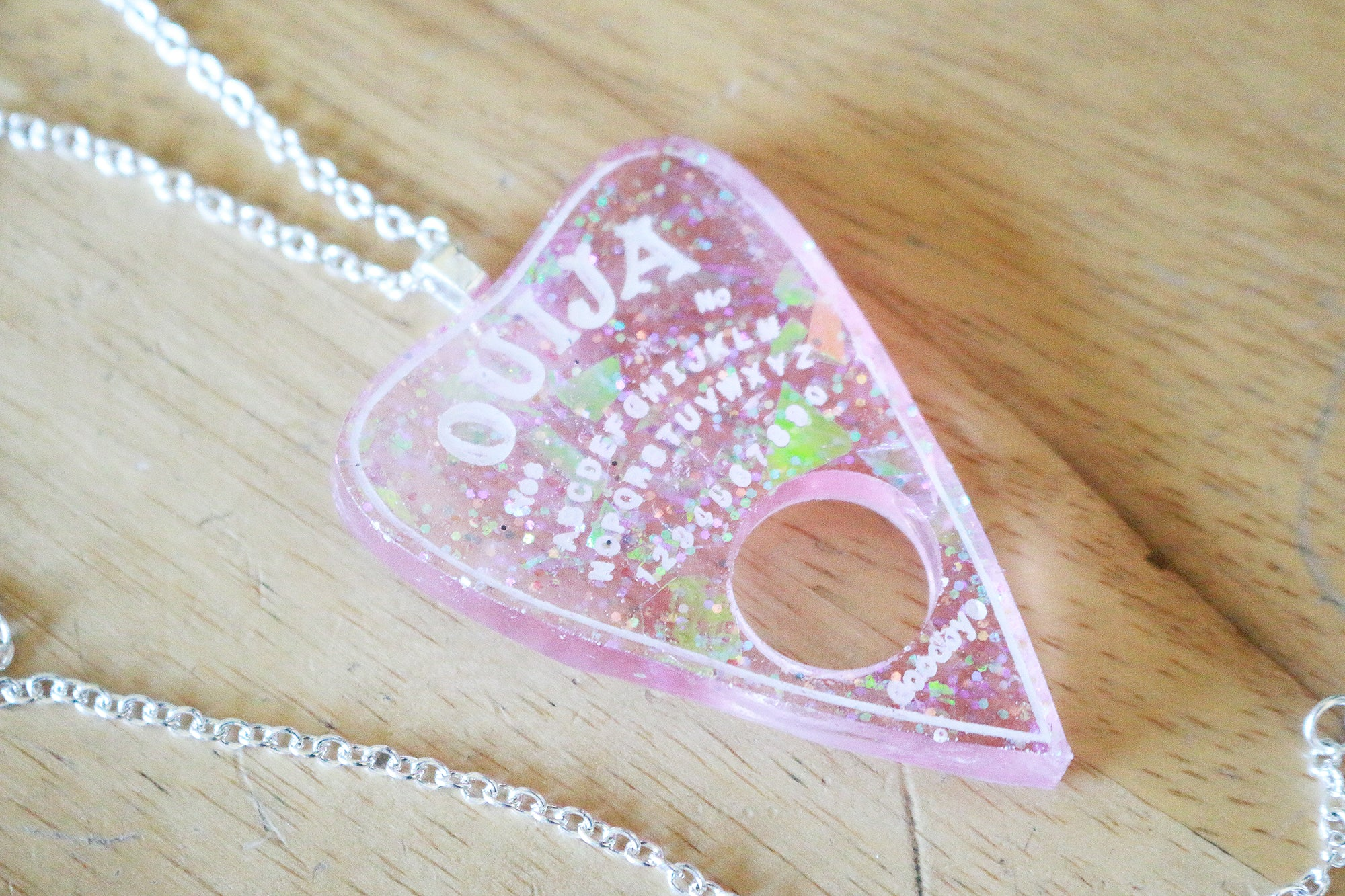 Pink Opal Ouija Planchette Necklace