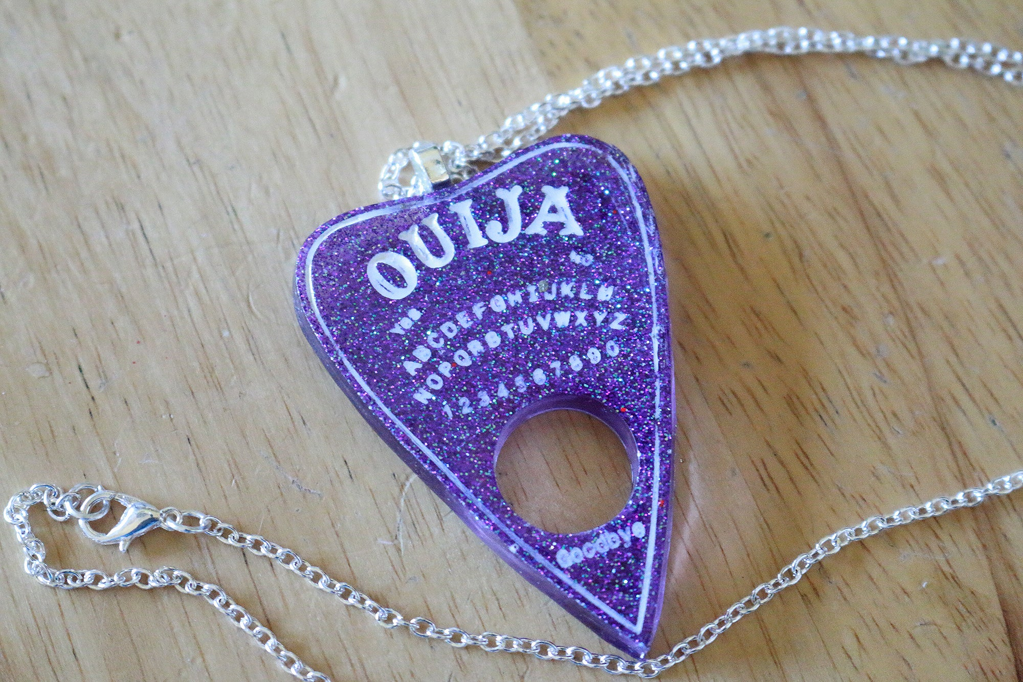 Purple Glitter Ouija Planchette Necklace