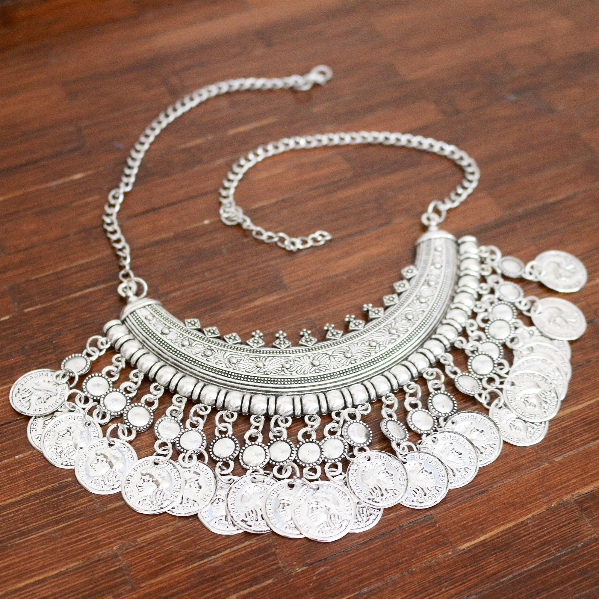 Wild Coin Statement Bib Necklace