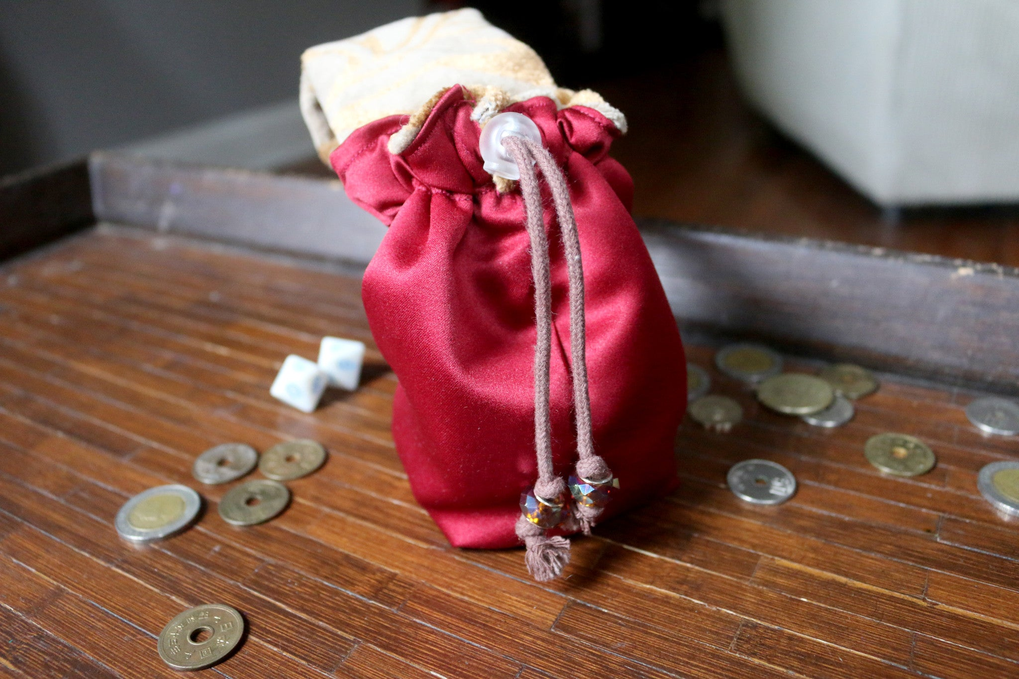 Adventurers Dice Bag - Monk - Quality drawstring reversible pouch with belt loop - SteamWolf Symphony