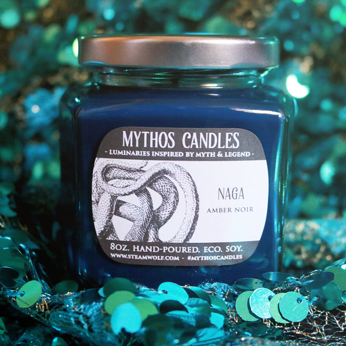 Mythos Candles - Naga | 8oz. Strong Scented Soy Candle | Amber Noir