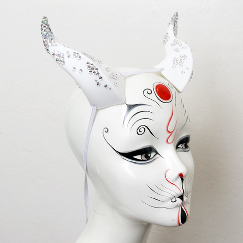 White Rhinestone Medium Beast 3D Printed Costume Horns