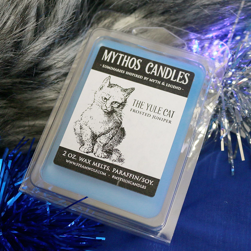 Limited Edition Mythos Candles 2oz The Yule Cat (Frosted Juniper) Paraffin/soy Wax Melts