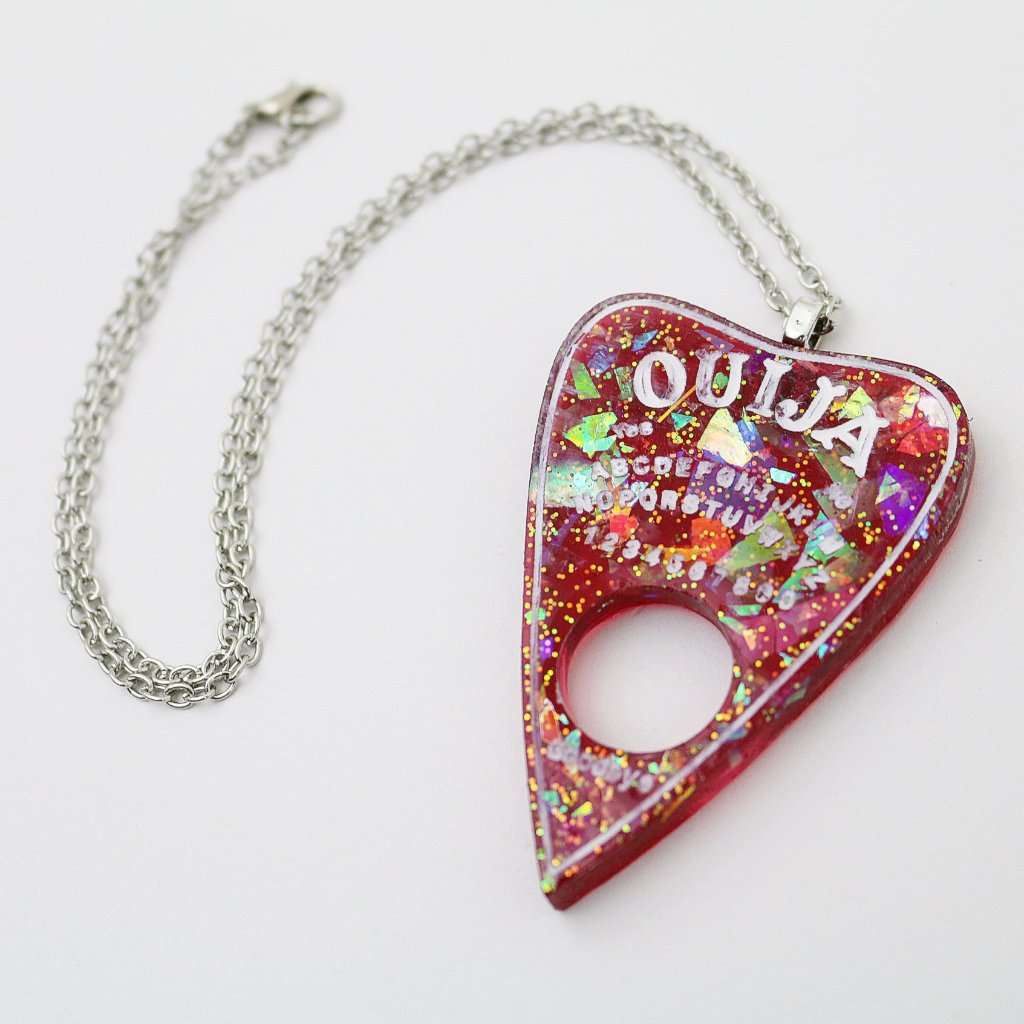 Red Opal Ouija Planchette Necklace