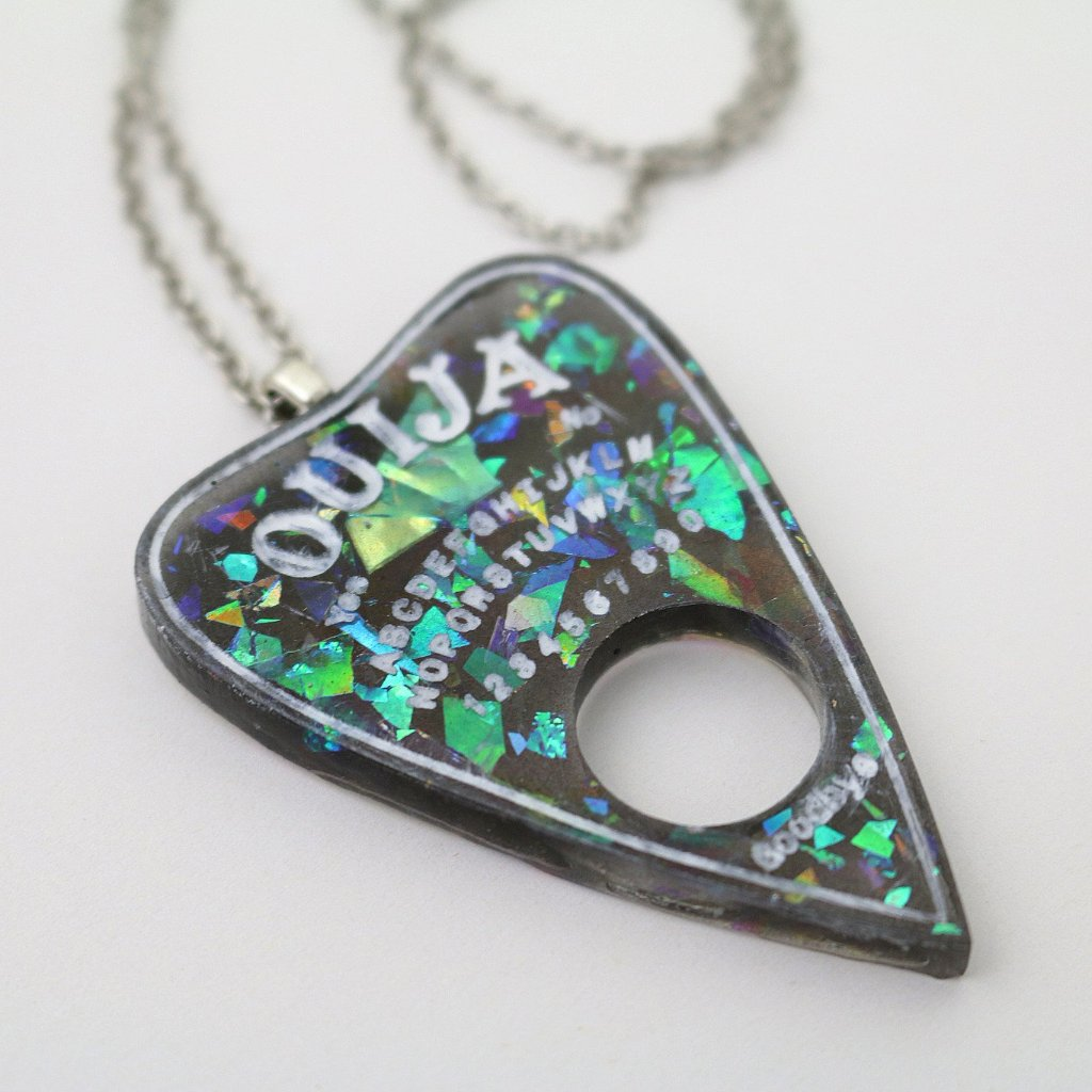 Black Opal Ouija Planchette Necklace - SteamWolf Symphony