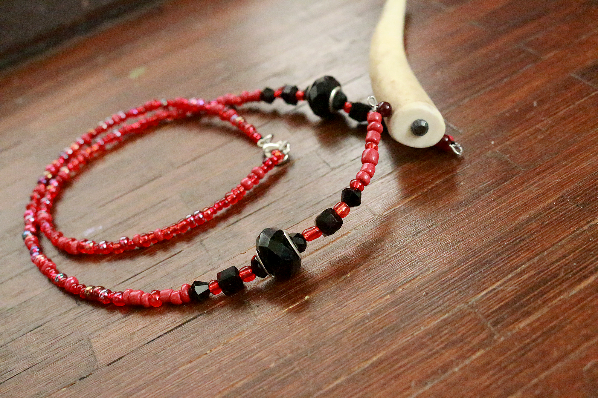 Crimson Peak Glass Beaded Deer Antler Statement Necklace