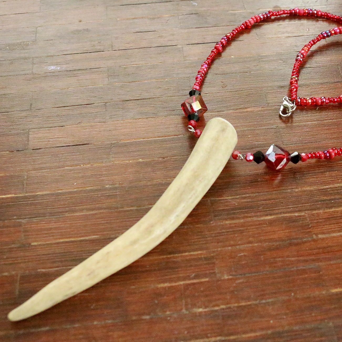 Bathory Glass Beaded Deer Antler Statement Necklace
