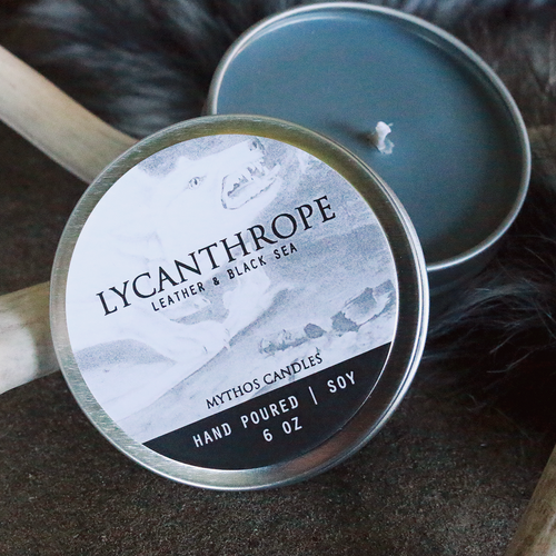 Mythos Candles 6oz Tin Lycanthrope (Leather & Black Sea) Soy Candle