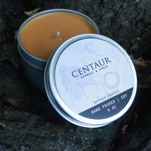 Mythos Candles 6oz Tin Centaur (Oakmoss & Amber) Soy Candle